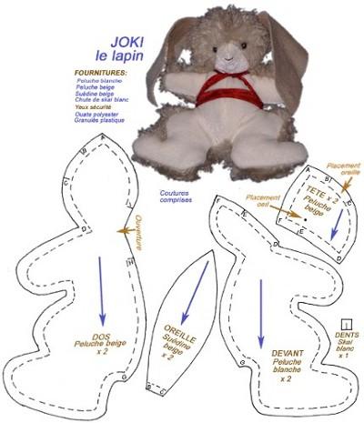 Patron couture doudou lapin - Doudou en tissu a faire soi meme ...